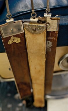 Leather straps for sharpening straight razors.