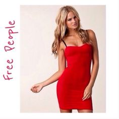 Free People Little Red Dress This dress will fit size small up to large as it has lots of stretch, dress it down with tights and boots and a leather jacket or dress up at night with sexy heels and jewelry... Free People Dresses Mini