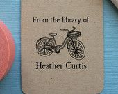 Personalized Book label stamp with bike, self inking, old fashioned bike stamp