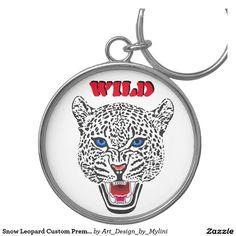 Snow Leopard Custom Premium Round Keychain