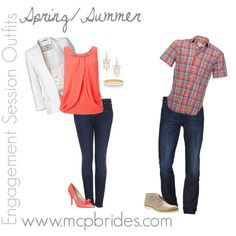 Spring/Summer Engagement Session Outfit Ideas Coral and Plaid mcpbrides.com Elizabethtown, KY