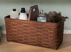 This Large Handy Helper Basket is great to store cleaning supplies in because of its durable double weave construction