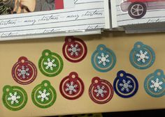 Cute Christmas Ornaments made with Creative Circle Tag punch, stickles, and snowflakes