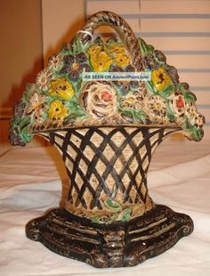 Antique Hubley Cast Iron Mixed Flower Basket Doorstop