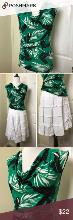 """Vince Camuto top Vince Camuto sleeveless drape neck top. Ruching on one side. Dress this top up or dress it down depending on what you pair it with. Chest pit to pit 16"""", Length 24"""". Tops"""