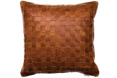 Woven Tan Leather Cushion from ELSON