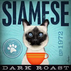 Siamese Cat Coffee company graphic illustration by geministudio, $79.00