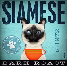 Siamese Coffee company artwork original graphic by geministudio