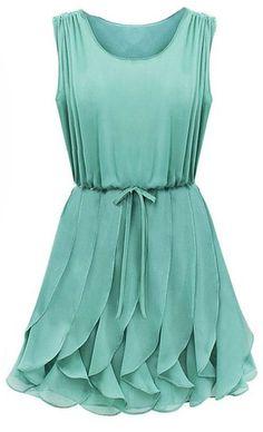 Mint Ruffle Chiffon Dress <3--- She's beautiful!!http://www.sheinside.com/Green-Sleeveless-Ruffles-Pleated-Chiffon-Dress-p-111583-cat-1727.html?medium=HardPin=Pinterest=type294=hardpin_type294