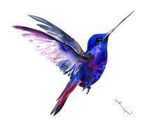 Flying Hummingbird, 12 X 9 in, original watercolor painting, flying bird art minimalist blue art