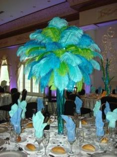 Feathers Beach Theme Centerpieces Under The Sea Theme Tropical Theme Ideas Beach Theme Centerpieces, Centerpiece Rentals, Under The Sea Theme, Under The Sea Party, Burlesque Party, Ostrich Feather Centerpieces, Underwater Theme, Prom Themes, Sweet Sixteen Parties