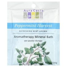 Aura Cacia Refreshing Peppermint Mineral Bath Packet, 2.5-Ounces Packet by Aura Cacia. $4.43. refreshing mineral bath. Better than any peppermint you've ever encountered, Aura Cacia Peppermint Harvest is exactly like smelling a bouquet of freshly picked, green peppermint herb. A blend of mineral-rich ocean and desert salts with 100% pure and completely natural peppermint essential oil. Aura Cacia Peppermint Harvest Mineral Bath formula will create a spa-quality therapeutic ...