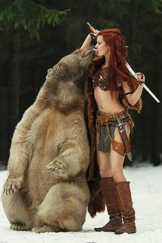 """Incredible """"extreme"""" cosplay called Merida by the model Tina Rybakova. Photo by Dasha Kond """"I need a bear for my cosplay. A bear. 5 years, an exotic pet license, and 3d Fantasy, Fantasy Warrior, Warrior Girl, Warrior Princess, Warrior Women, Arms Warrior, Warrior Fashion, Foto Picture, Red Sonja"""
