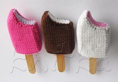 Knitted ice cream bars. Too bad a pattern isn't available as the creator of these cool creations designed them on the needles.