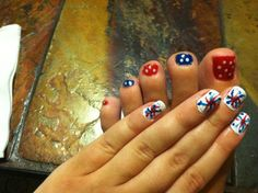 DIY nails for 4th of July
