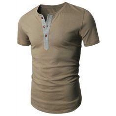 Laconic Round Neck Button Design Short Sleeve Men's T-Shirt