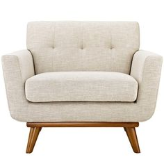 Modway Engage Collection 40 Inch Armchair with Cherry Rubberwood Legs, Track Arms, Tufted Back and Fabric Upholstery in Beige Color Pouf Design, Chair Design, Fabric Armchairs, Upholstered Arm Chair, Sofa Chair, Swivel Chair, Chair Upholstery, Chair Cushions, Plywood Furniture