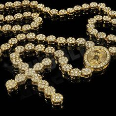 nice 14k Gold CZ Iced Out ROSARY FLOWER Pendant Cross Jesus Men Necklace Hiphop Chain - For Sale Check more at http://shipperscentral.com/wp/product/14k-gold-cz-iced-out-rosary-flower-pendant-cross-jesus-men-necklace-hiphop-chain-for-sale/