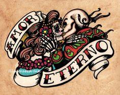 Dia de los Muertos AMOR ETERNO giorno del morto arte stampa 8 x 10 o 11 x 14