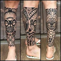 Vigorosos Tatuajes Maories En La Pierna Tipo Tribal Tatuajes Para