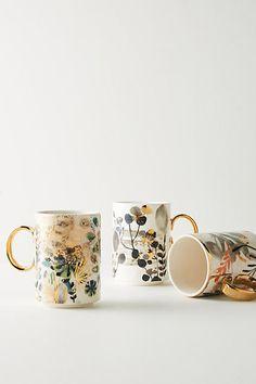 Anthropologie Gilded Botany Mug