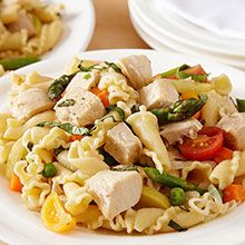 Combined with a Parmesan vinaigrette, spring colors and flavors come to dinner with our chicken pasta primavera recipe.