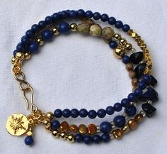 Elegant Lapis Navy and Gold Multi Strand by SeaSideStrands on Etsy