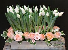 Tulip and Rose centerpiece by Le Bouquet | Le Bouquet Weddings | Weddings By Natalie  www.lebouquet.com/weddings Tulip Wedding, Spring Wedding Flowers, Wedding Arrangements, Flower Arrangements, Wedding Themes, Wedding Ideas, Rose Centerpieces, Bridal Bouquets, Wedding Engagement