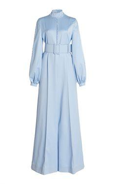 Alvina Button-Detailed Wool Wide-Leg Jumpsuit by Costarellos Hijab Fashion, Fashion Dresses, Carolina Herrera Bridal, Estilo Rock, Feather Dress, Turkish Fashion, Clothing Hacks, Mode Hijab, Elegant Outfit
