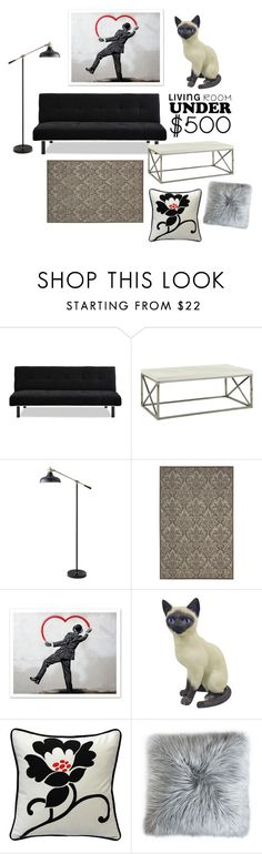 """Decorate a Living Room for Under $500"" by perpetto ❤ liked on Polyvore featuring interior, interiors, interior design, home, home decor, interior decorating, Monarch Specialties, Threshold, Nourison and Pillow Decor"