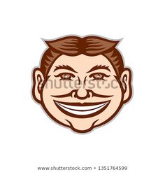 Mascot icon illustration of head of a funny face grinning, leering, smiling slyly beaming mug with hair parted in middle viewed from front on isolated background in retro style. Retro Illustration, Funny Faces, New Pictures, Retro Style, Retro Fashion, Disney Characters, Fictional Characters, Royalty Free Stock Photos, Middle