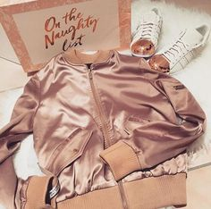 'DENA' - ROSE GOLD SATIN BOMBER JACKET from House of CB