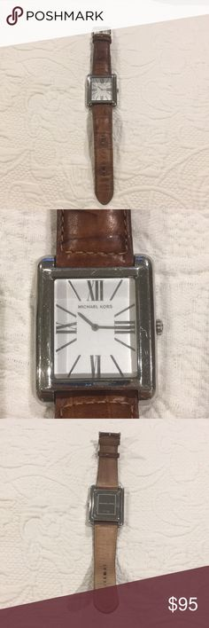 Michael Kors watch Michael Kors silver watch with brown leather strap. Works great, just needs a new battery. Michael Kors Accessories Watches
