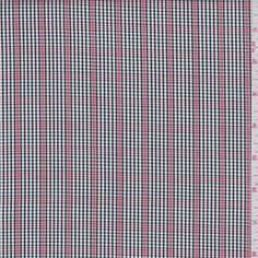 White, black and berry red miniature yarn dyed check. This lightweight premium woven cotton fabric has a soft feel and crisp hand.Compare to $10.00/yd