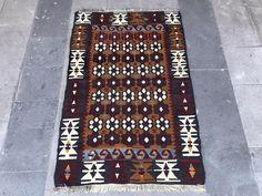 Super Fine Vintage Turkish Anatolian Kilim Rug, Distressed Kilim Rug, Floral Abstract Geometric Design, Symetric Design by NotonlyRugs on Etsy