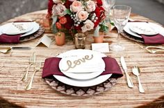 burgundy and rose wedding table decor  / http://www.deerpearlflowers.com/burgundy-and-blush-fall-wedding-ideas/2/