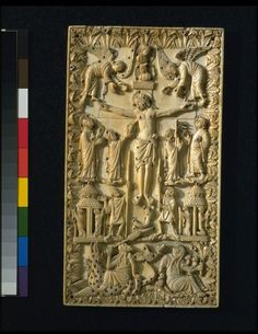 The Crucifixion - ivory panel, once ornamented with gold studs, probably made in Metz, France (860-870) - V&A