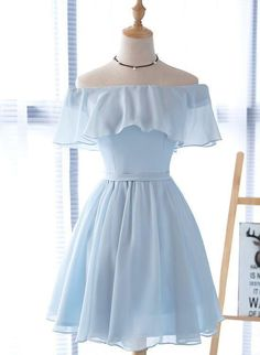 Simple Homecoming Dresses, Hoco Dresses, Short Bridesmaid Dresses, Wedding Dresses, Skater Dresses, Simple Short Dresses, Short Blue Prom Dresses, Dress Outfits, Chiffon Dresses