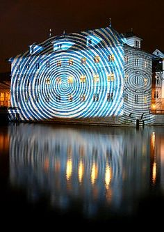 Switzerland - Zurich City Hall Light Projection Art The City hall of Zurich is seen under a light projection by Swiss illumination artist Gerry Hofstetter on the occasion of a promotion for the EURO 2008.
