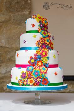 Funky bright neon Wedding cake