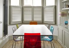 Modern plantation shutters add beauty and function to each window and room. With adjustable wood frames and slats, they enhance a single window Bay Window Shutters, Kitchen Shutters, Kitchen Blinds, Diy Shutters, Interior Shutters, Wooden Shutters, Cafe Style Shutters, Victorian Windows, Victorian House
