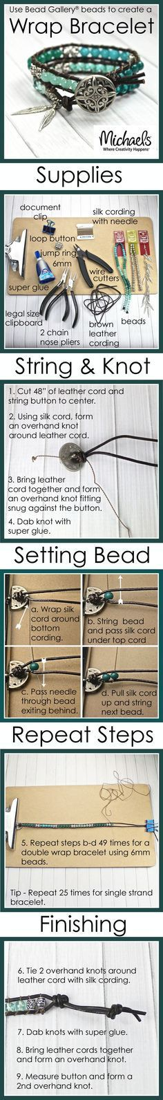 Use Bead Gallery beads to create a trendy wrap bracelet following these easy steps