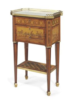 A LOUIS XVI AMARANTH, TULIPWOOD AND MARQUETRY WRITING TABLE BY PIERRE-HENRI MEWESEN, CIRCA 1780, THE MARBLE TOP AND GALLERY PROBABLY LATER
