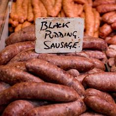 Freaky Food - Black Pudding       All over the world there are communities that enjoy blood sausages. This version from the UK can be eaten uncooked, but is often grilled, fried, or boiled in its skin. You can find it served in many a traditional English breakfast.