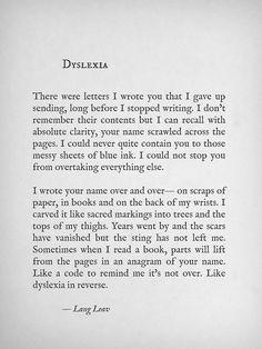 Dyslexia~ Lang Leav