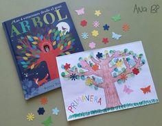 Las 4 estaciones desde el gran árbol. Actividad: paisaje primaveral, pintando el tronco de un árbol, añadiéndole troqueles de flores y mariposas y pintando la hierba.