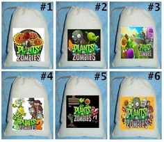 12 Plants vs Zombies Birthday Party Favor Candy Loot Treat Drawstring Bags