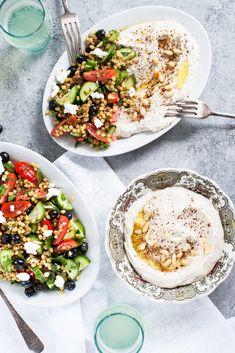 Hummus crémeux aux haricots blancs et salade de farro