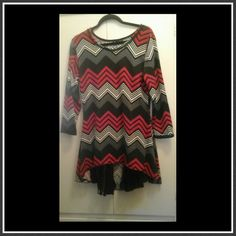 Chevron pattern dress Adorable red, black an gray chevron pattern dress. On the back side of the hem has three panels of black lace. High low dress.light weight sweater type fabric. Just adorable! Size Medium. Great condition. Thanks ladies. Merchant Dresses