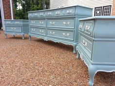 High quality gorgeous set includes the dresser and two night stands finished in Annie Sloan Duck Egg Blue and a creamy white. A rare find which features 7 spacious drawers. The entire set priced to sell at only $699.00!